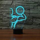 Zyyymx 3D Starke Hantel Muscle Man Led Tischlampe Usb Bunte Gradienten Acryl Nachtlicht Schlafzimmer Nachttischlampe Beleuchtung Dekor Weihnachtsgeschenke