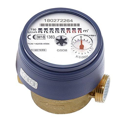 Wasserzähler QN 1,5 Kaltwasser, BL 80 mm 1/2 Zoll Durchfluss - 3/4 Zoll Anschluss Beste Messgenauigkeit