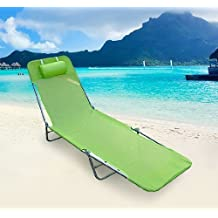 Tumbona Plegable Inclinable de Acero Color Verde Plegable con Almohada Playa Piscina