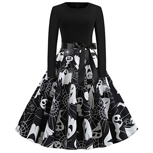 Zottom Halloween Print Langarm Kleid Frauen-Weinlese-Lange Hülsen-Halloween-50er Hausfrau-Abend-Partei-Abschlussball-Kleid (Roter Jasmin Kostüm Für Verkauf)