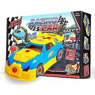 OleOletOy Kinder Montage Spielzeug Auto für kleine Mechaniker - Super Spaß beim zusammenbauen und Schrauben - mit kleine Hände geeignetem Akkuschrauber