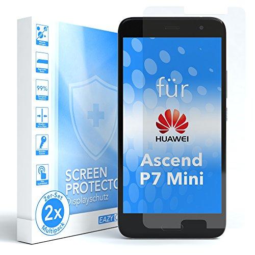 EAZY CASE 2X Panzerglas Bildschirmschutz 9H Härte kompatibel mit Huawei Ascend P7 Mini, nur 0,3 mm dick I Schutzglas aus gehärteter 2,5D Panzerglasfolie, Bildschirmschutzglas, Transparent/Kristallklar