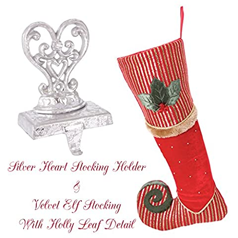 Luxury Elf's Missing Shoe Holly Berry Red With Gold and Green Stripe with Embroidery Detailing Stocking with Ornate Scrolled Distressed Silver Scroll Heart Stocking Holder. A Merry Contemporary Festive Addition To Your Windowsill, Mantelpiece or Hearth. Stocking H 47 x W 22 cm, Holder H 18 x W 10cm, Weighs 1.5kg