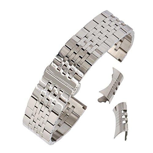 24mm Silber Stahl Uhrenarmband für Smart-Uhr-Männer breiten traditionellen Uhrenarmband aus massivem Edelstahl