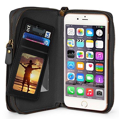 TSCASE Universal Handy Ledertasche als Geldbörse Brieftasche mit Reißverschluss, Geldfach, Kreditkartenfach und Spiegel. Aus Leder, mit Griff, passend für iPhone 7 (Plus), iPhone 6/6s (Plus), Samsung Galaxy S7 (Edge), Huawei P9 und alle anderen unter 14cm/5.7 zoll