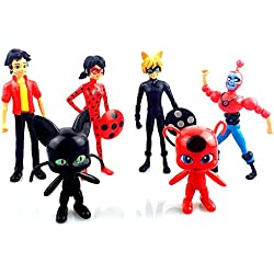 Lady Bug Prodigiosa LadyBug Mariquita colección de 6 personajes figuras Adrien Agreste Cat Noir Gato negro Ladybug Marinette Dupain Tikki Plagg 4695