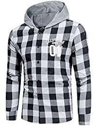 Blusa de Hombre, BaZhaHei, Camisas de Manga Larga con Capucha y Cuadros de Hombre