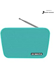 ACOOSTA SUNO HITS - Powered by SONY MUSIC, 1000 Preloaded Songs - 7 stations & 250 artists, Portable Wireless Bluetooth Speaker with Mic, FM Radio, USB, Aux In, Aux Out, True Wireless Stereo - (Teal)