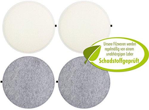4er Set Filz Sitzkissen rund 35cm, 2-farbig graumeliert / cremeweiß zum Wenden. Gepolstert, bei 30°C waschbar, für Innen und Outdoor. Original Luxflair.