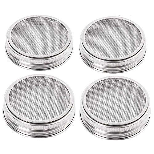 ProMaker 4 Pack Stainless Steel Sprouting Jar Lid Kit for Superb Ventilation Wide Mouth Mason Jars Canning Jars for Making Organic Sprout Seeds