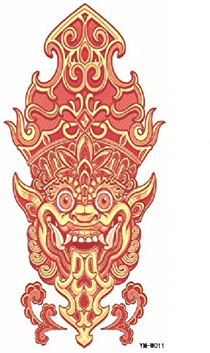 Spestyle waterproof and non toxic red lion head realistic temporary tattoo stickers