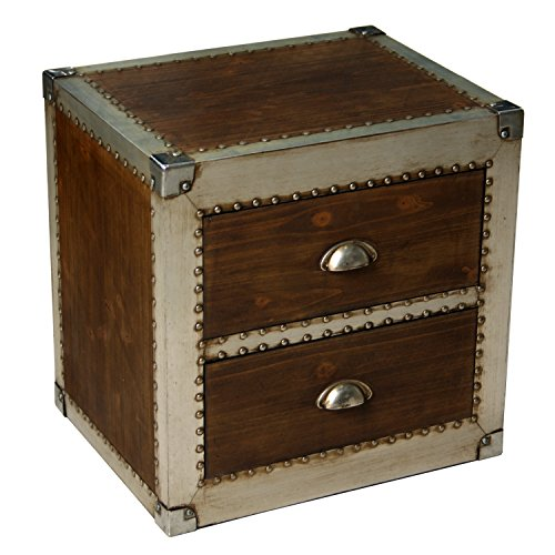 2 Schublade Nachttisch Holz-finish (Pame 40549–Nachttisch mit 2Schubladen, Finish in Holz und Metall, 52,5x 51x 40cm)
