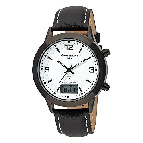 Masterline1966 Funk Herren Armbanduhr Funkuhr Travel-Line I Schwarz Lederband ML06209002