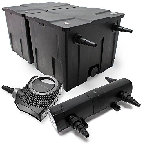 Kit de Filtration Bassin Bio Filtre 60000l 80W Pompe éco Stérilisateur Bassin 36W