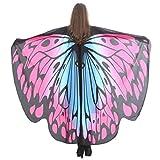 Lnefehsh Disfraz de Alas de Mariposa para Mujer,Lenfesh Adulto Mariposa Alas Chal Hada duendecillo Cosplay Capa Disfraces (168x135CM, Rosado #5)