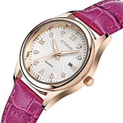 Ladies leather strap watch/Waterproof quartz watches/Simple casual female form-H