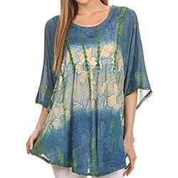 Sakkas 14031 -Blusa Poncho Camiseta Top Ellesa Ombre circular desteñida con lentejuelas bordadas-Azul / crema-OS