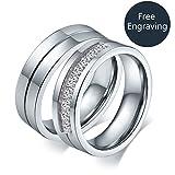 Aeici Beschriftungs Ring für Sie Edelstahl Versprechen Hochzeits Bänder Cz Größe 50 (15.9)