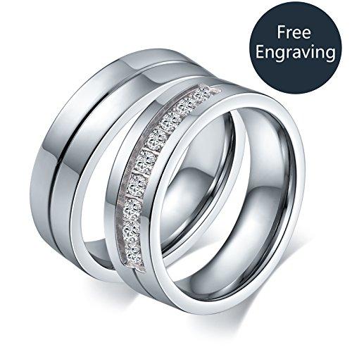 Aeici Engagement Ring für Damen Beschriftung Edelstahl Versprechen Hochzeits Bänder Cz Größe 70 (22.3) (Ring Cz 4ct Engagement)
