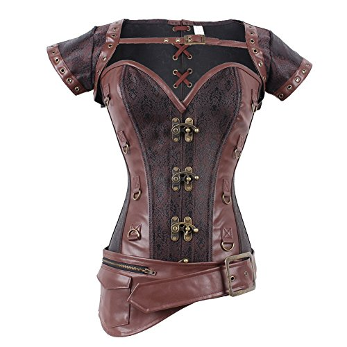 FeelinGirl Damen Vollbrustkorsett mit Jacke und Gürtel - Brokatmuster - Retro/Gothic/Steampunk Braun XL (Viktorianische Weihnachts Frau Kostüm)