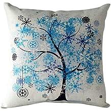 Amlaiworld, Funda cojín, Árbol de flores Funda de almohada Funda de cojínes para sofá Cintura Decoración del hogar (45cm*45cm, Azul)
