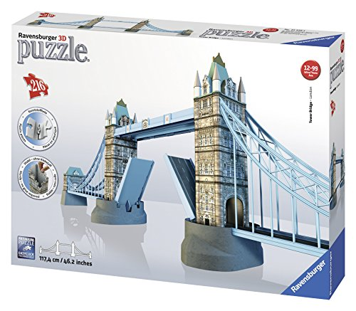 Ravensburger 12559 - Tower Bridge London 3D Puzzle-Bauwerke, 216 Teile