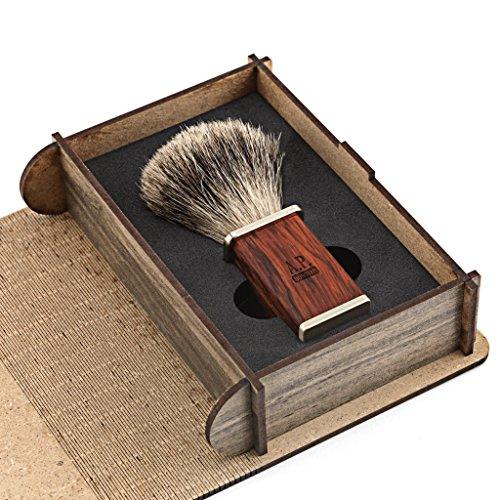 Rasierpinsel aus Dachshaar mit Holzgriff und Geschenk-Schachtel aus Holz Abbildung 3