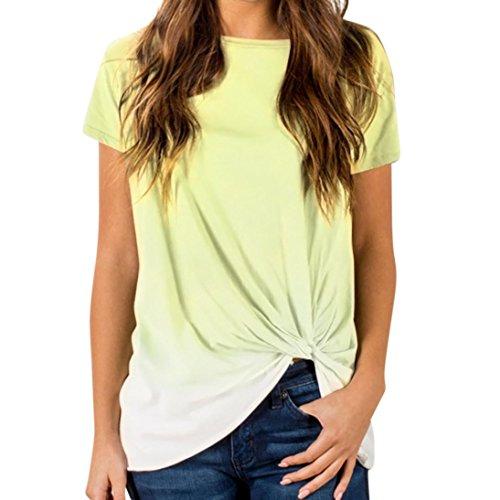 urzarm O- Ausschnitt Oberteil Farbverlauf Verknotete Tunika Tops Bluse Shirt Sportlich T- Shrit S-2XL (Gelb, M) (Alle Leder Kostüme)
