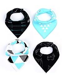 Flypv 4pcs Babero Unisex de Algodón Absorbente Toalla de Saliva Suave Triángulo Diseño de Diferentes Imagenes para Bebé Niño Infantil