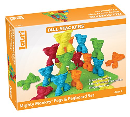 Patch Products Inc. Lauri Toys Tall Stacker Mighty Monkey Pegs and Pegboard Set