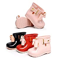 Zhuhaixmy Baby Girls Kids Cute Bow Non-Slip Toddler Rainboots Waterproof Shoes Rain Boots Children Ankle Boots Winter Boots