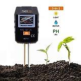 TACKLIFE Bodentester MST01 3 in 1 Bodenmessgerät Feuchtigkeitsmesser, Sonnenlicht Intensitäts Meter und Boden pH Tester, genauer und nützlicher Pflanzenpflege Prüfvorrichtung