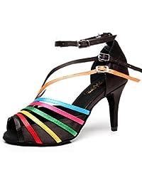 XIE Zapatos de mujer Vistoso Satín Salón de baile latín Taogo Baile Zapatillas Sandalias Tamaño 35 a 41, EU41