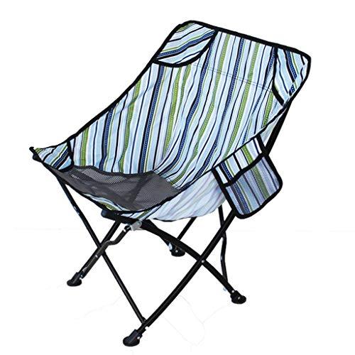 WRZHRXXH Falten Camping Stuhl Im Freien Tragbar Einfach Fischen Stuhl Strand Skizzieren Stuhl Mond Stuhl Fischen Rückenlehne Hocker Barbecue Freizeit-Klassisch Streifen Blau(Mesh)