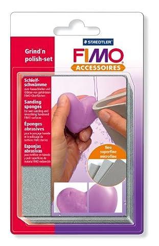Staedtler - Fimo Accessoires - 3 Eponges Abrasives de Ponçage et Polissage - Sous Blister