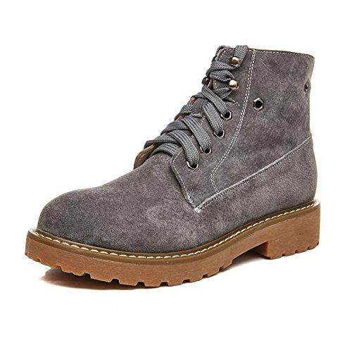 Damen Stiefeletten Wildleder Schnürer Rundzehen Einfache Sneakers Grau