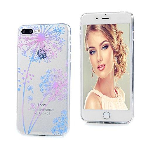 YOKIRIN iPhone 7 Plus 5.5 Pouces Coque de Protection - Phone Case TPU Couverture Complète Transparent Dessin Coloré - Attraper Rêve Pissenlit
