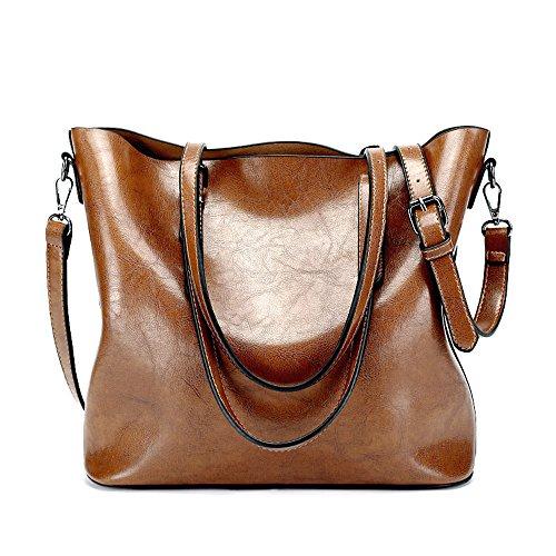 Nlyefa Damen Elegant Vintage Leder Umhängetasche Handtasche Shopper Tasche Henkeltasche für Büro, Alltag (Alltags-shopper)