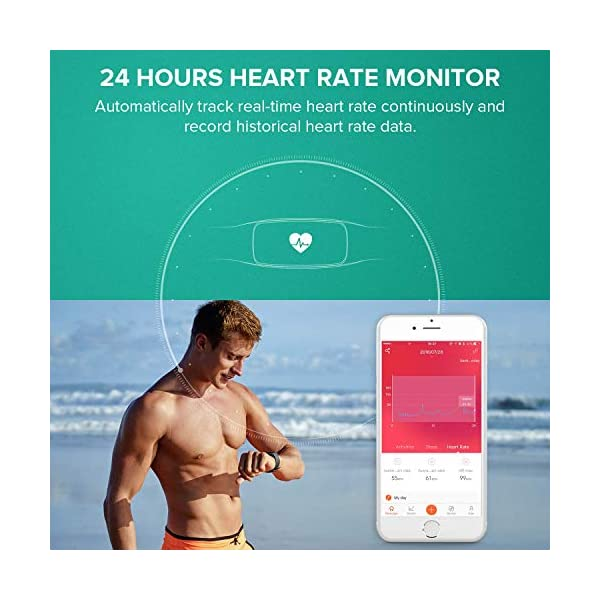 Runme Activity Tracker, Fitness Tracker con Monitor de Ritmo cardíaco y sueño, Smart Fitness Watch con Podómetro, GPS Tracker, Impermeable IP67 para Android/iOS(Morado) 9