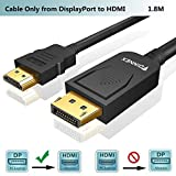 FOINNEX DisplayPort to HDMI,Cable DisplayPort a HDMI Video Conversor 1,8m,Hacer Adaptador DP 1.2 Macho a HDMI 1.4 Macho con Audio,1080P@60Hz para PC, Laptop,Desktop a Monitor,TV,Proyector