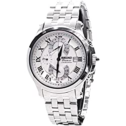 Seiko SPC065P1's Chronograph Watch Quartz White Dial Steel Strap Grey