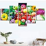 Meaosy Wohnkultur Leinwand Malerei Obst Hd Drucke 5 Stücke Wandkunst Gemüse Modularen Lebensmittel Bilder Nacht Hintergrund Kunstwerk Poster -40X60/80/100Cm