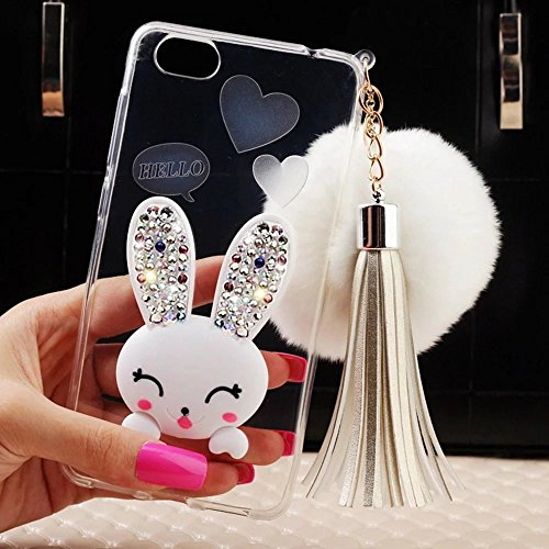 MOMDAD iPhone 7 Plus Coque iPhone 7 Plus TPU Silicone Coque iPhone 7 Plus Transparent Coque iPhone 7 Plus Souple Coque téléphone portable Case Cover Housse Etui pour iPhone 7 Plus 5.5 Pouces Coque de  Lapin-Blanc