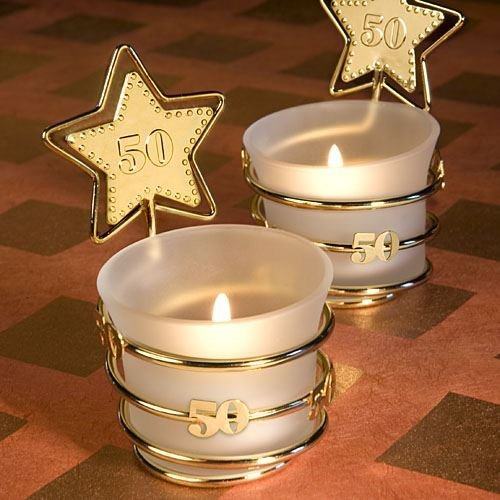(Set of 6 Gold Star Design 50th Anniversary White Glass Tea Light Candle Holder Celebration Favours - {638054047407})