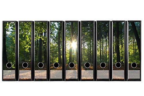 Set 9 Stück breite Ordner-Etiketten selbstklebend (Ordnerrücken Aufkleber Sticker) Sonnenstrahlen,...