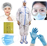 ORILEY ORPPE6 6-in-1 PPE Kit Personal Protective Equipment Combo with DRDO Approved Coverall Suit, Meltblown F