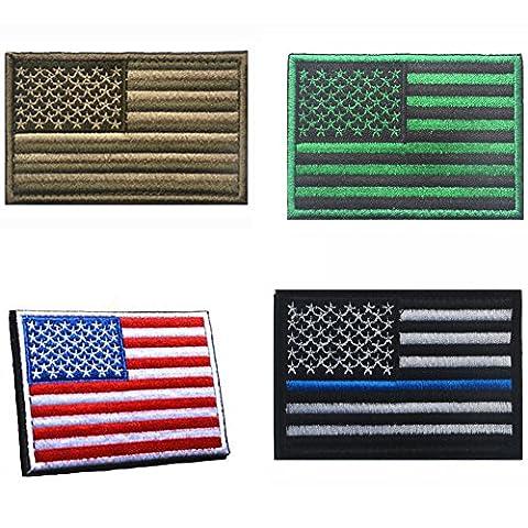 Aiyuda Militaire Tactique Brodé Drapeau Américain Velcro-Patches Backed Amovible (4 Pièces)