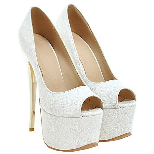 ENMAYER Frauen Lackleder Sexy Plattform Stiletto Super High Heels Runde und Peep Toe Pumps Slip auf Hochzeitskleid Court Schuhe 34 B(M) EU Weiß#22