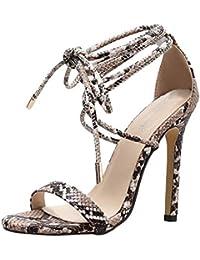 Damen Sandalen High Heels Sandaletten Sommerschuhe Fischmaul Verband Riemchen