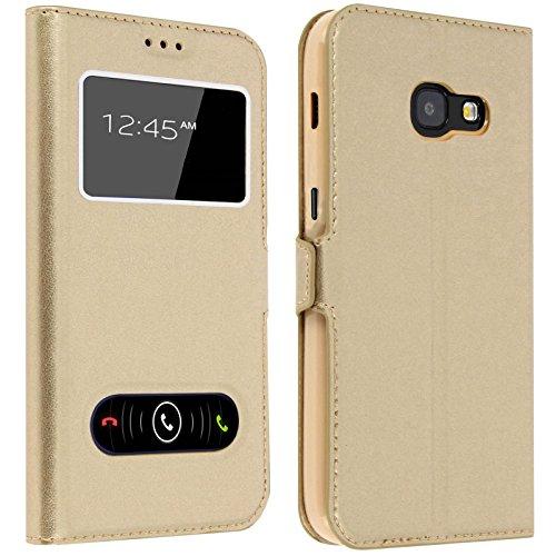 Gemtoo® Etui Coque Housse avec FENETRES pour Samsung Galaxy A5 2017 - Plusieurs Couleurs Disponibles (Gold)